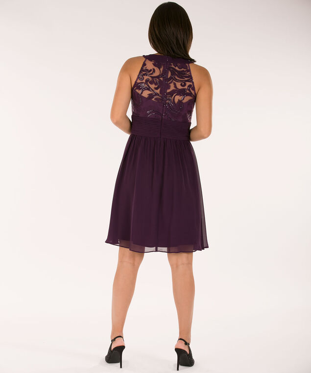Sequined Chiffon Dress, Blackberry, hi-res