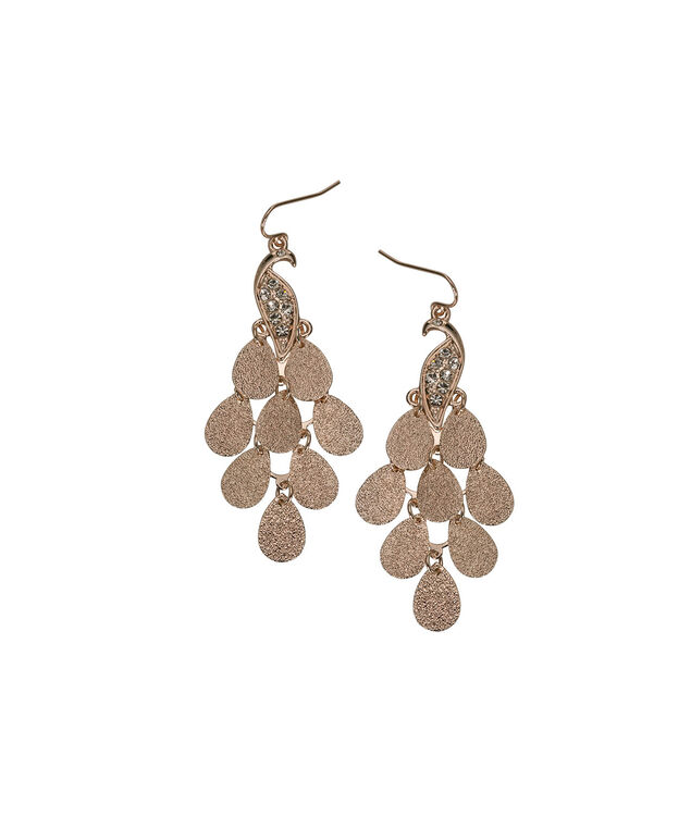 Peacock Teardrop Earring, Soft Rose Gold, hi-res