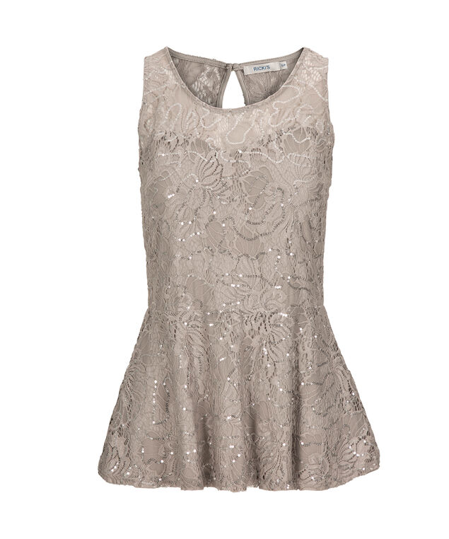 Sequined Lace Peplum Top, Silver, hi-res