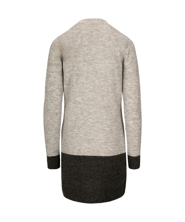Wide Striped Open Cardigan, Grey/Charcoal, hi-res