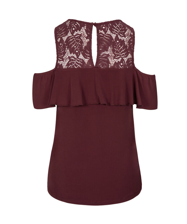 Lace & Ruffle Trim Cold Shoulder Top, Port, hi-res