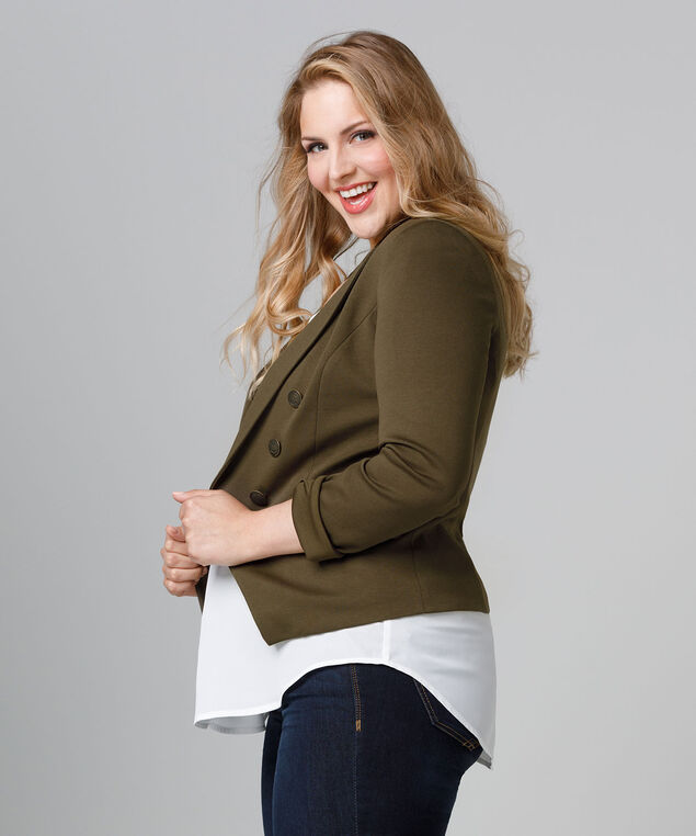 Knit Military Blazer, Soft Olive, hi-res