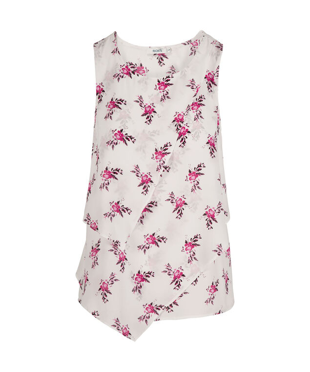 Asymmetrical Tiered Sleeveless Blouse, Floral Print, hi-res