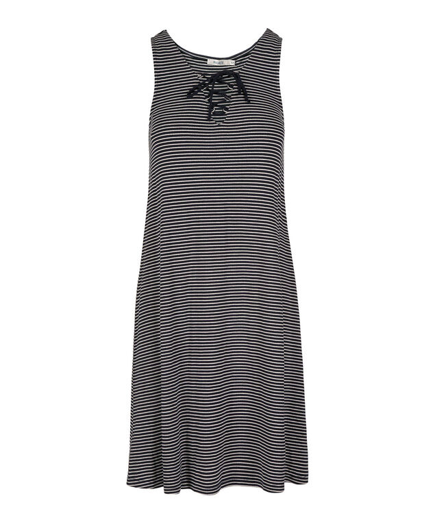 Lace-Up Stripe Dress, Navy/White, hi-res