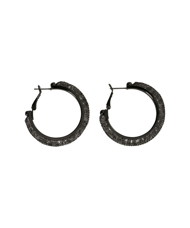 CRYSTAL HOOP EARRING, Clear/Black, hi-res