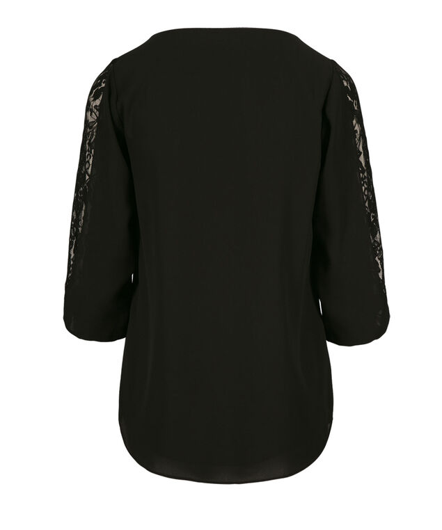 3/4 Lace Bow Sleeve Blouse, Black, hi-res