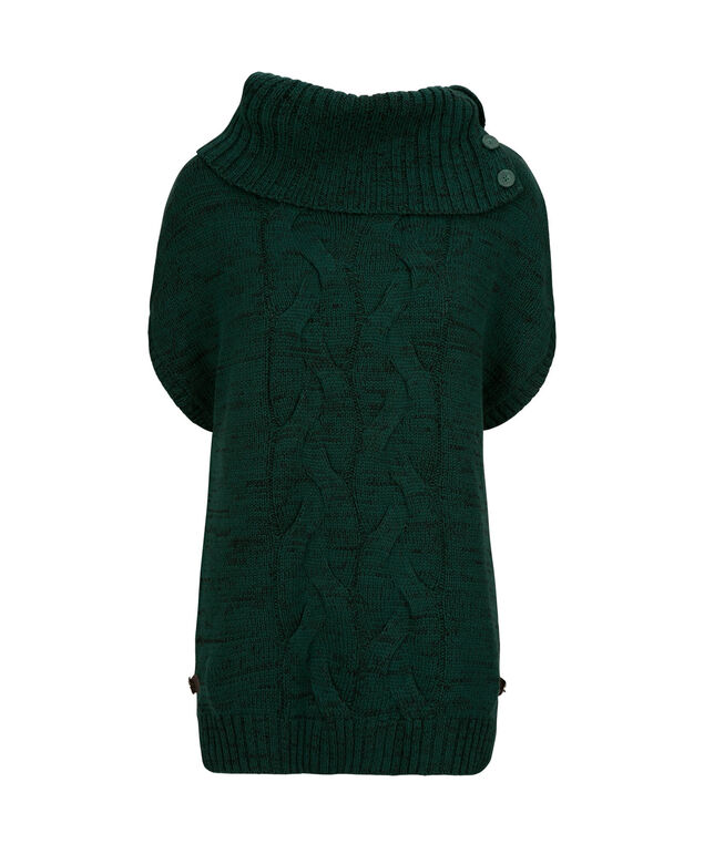Button-Neck Cable Knit Topper, Sycamore, hi-res