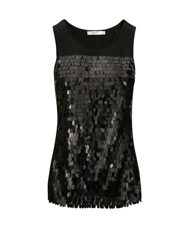 Sleeveless Sequin Front Top, Black, hi-res
