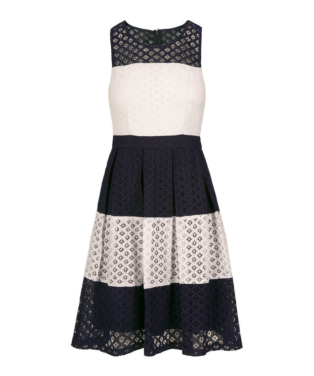 Illusion Neck Striped Lace Dress, White/Summer Navy, hi-res