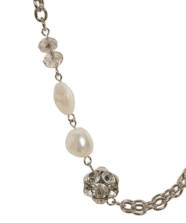 Long O-Ring Link & Stationed Pearl Necklace, White/Rhodium, hi-res