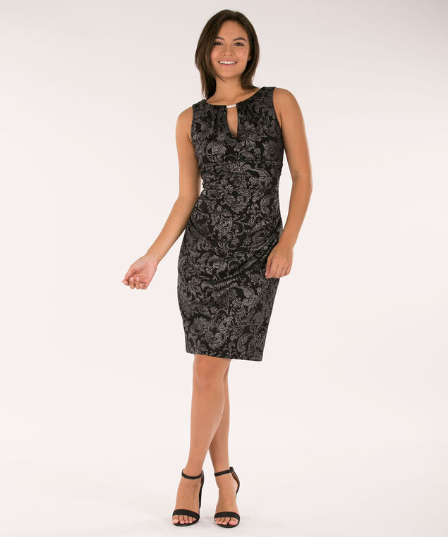 Ruched Crossover Sheath Dress, Black/Silver, hi-res