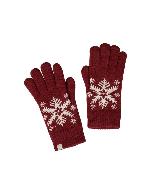 KNIT SNOWFLAKE GLOVE, Red/White, hi-res