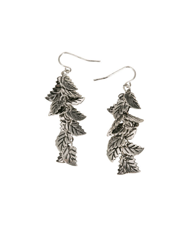 Layered Leaf Earring, Burnished Silver, hi-res