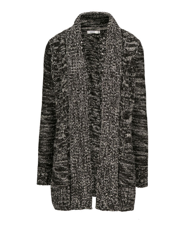 Open Cable Cardigan, Black/White, hi-res