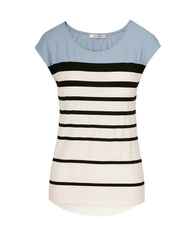 Extended Sleeve Scoop Neck Tee, Blue Striped, hi-res