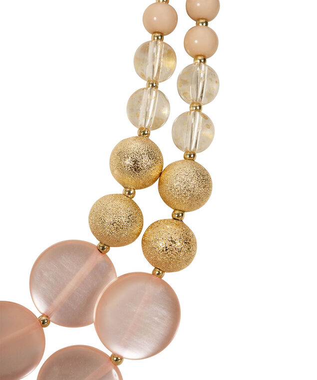 Double Strand Beaded Necklace Set, Misty Pink/Clear/Gold, hi-res