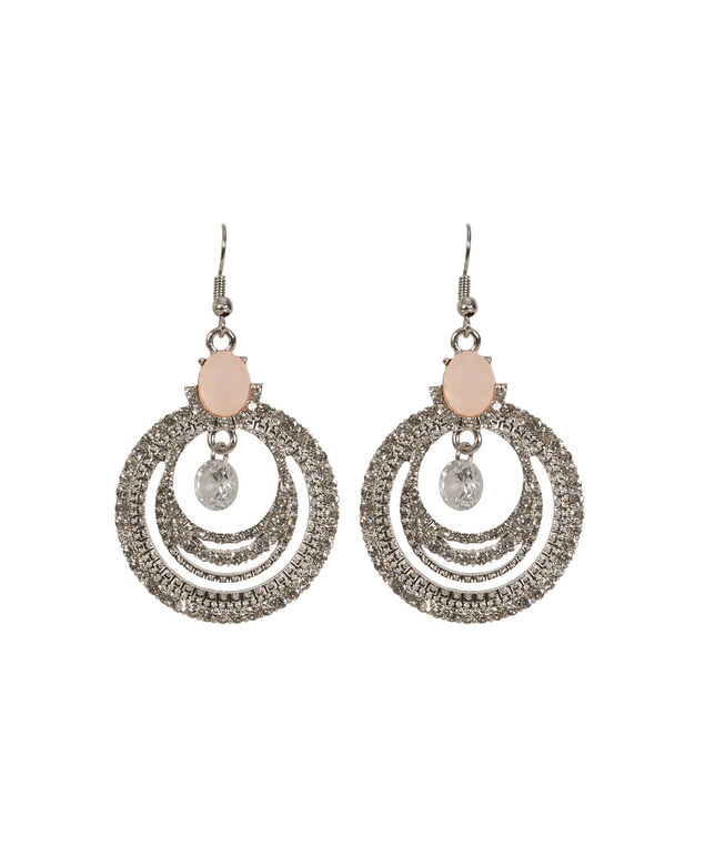 Round Crystal Statement Earrings, Rosewater/Rhodium Plated, hi-res
