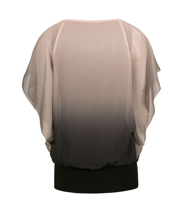 Pleated V-Neck Overlay Top, Pink Ombre, hi-res