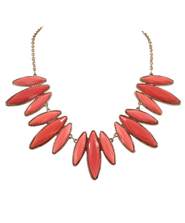 Faceted Stone Statement Necklace, Coral/Soft gold, hi-res