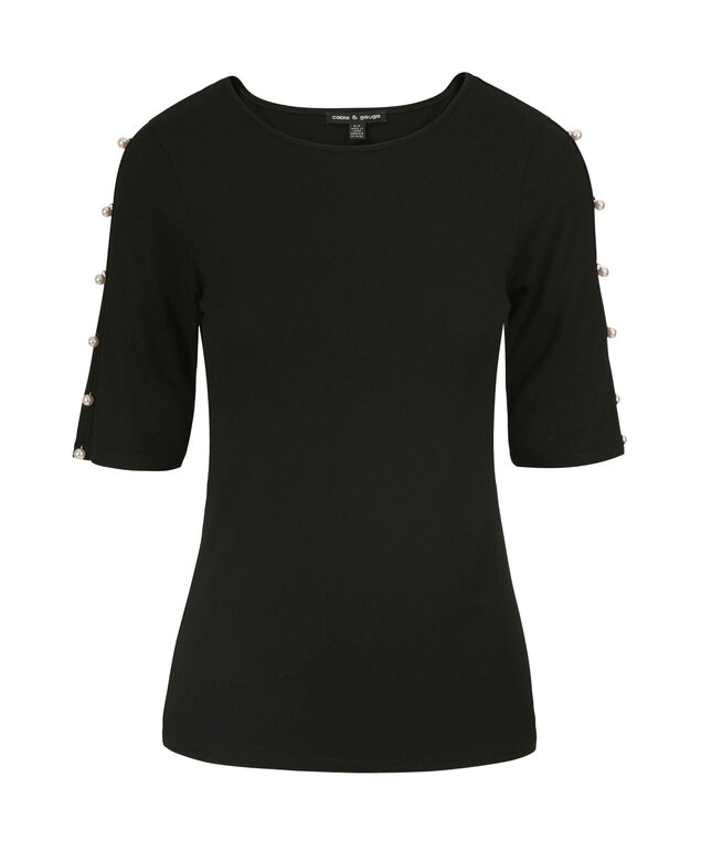 Pearl Trim Cold Shoulder Top, Black, hi-res