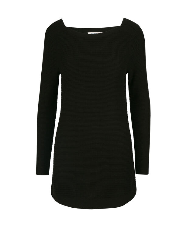 Square Neck Ribbed Pullover Sweater, Black, hi-res