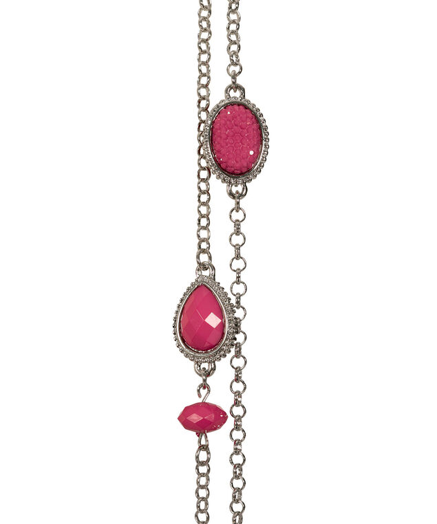 Faceted Stone & Caviar Bead Necklace, Hot Pink/Rhodium, hi-res