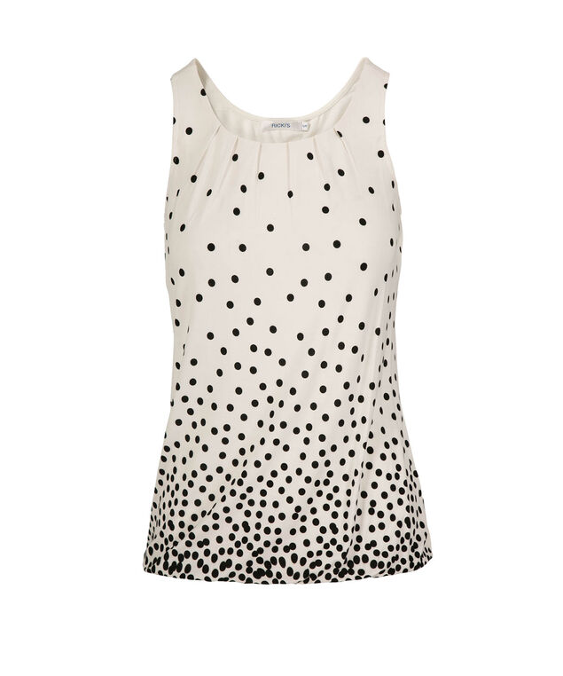 Polka Dot Bubble Hem Top, Milkshake Print, hi-res