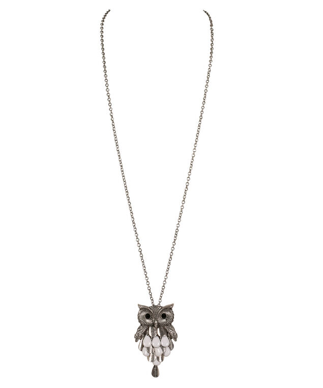 Owl Moveable Pendant Necklace, White/Burnished Silver, hi-res