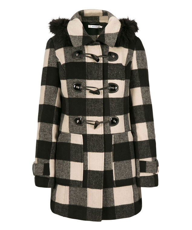 Plaid Toggle Coat, Black/Camel, hi-res