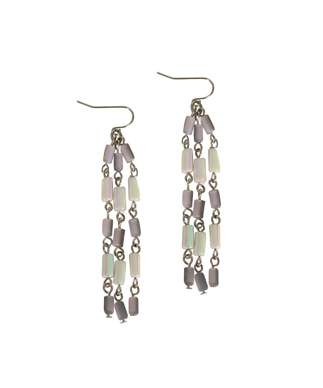 Iridescent Seed Bead Chandelier Earring, Iced Violet/Rhodium, hi-res