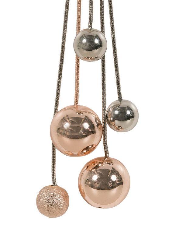 Long Mixed Metal Multiple Bauble Necklace, Rhodium/Rose Gold, hi-res