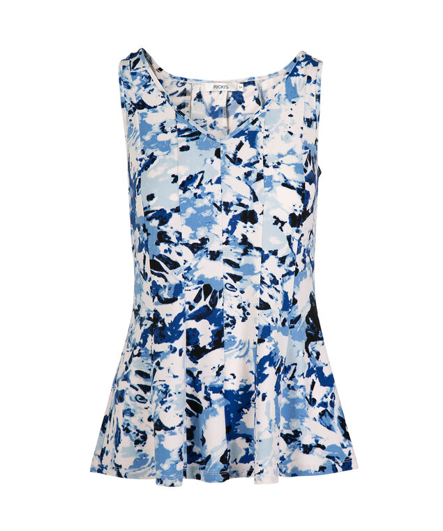 Sleeveless Seamed Peplum Top, White/Blue Print, hi-res
