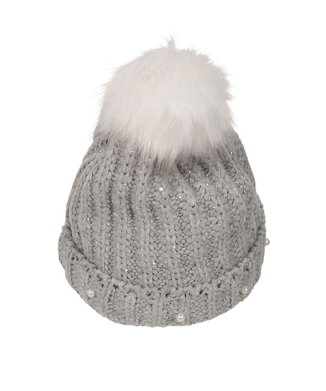 Chunky Cable & Pearl Toque, Grey/White, hi-res