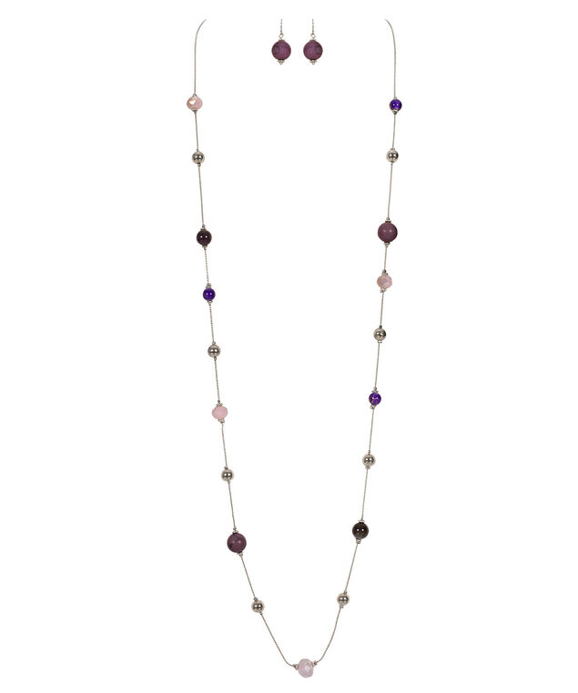 Stationed Bead Necklace Set, Purple/Blackberry/Rhodium, hi-res