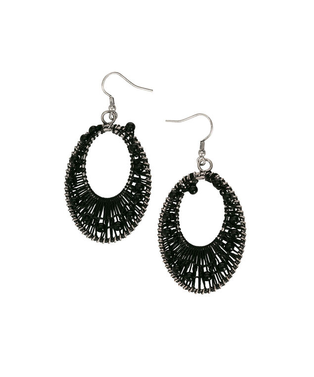 Threaded Oval Earring, Black/Burnished Silver, hi-res