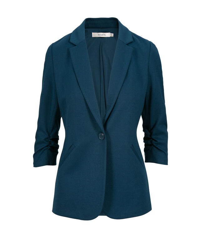Knit Boyfriend Blazer, Deep Teal, hi-res