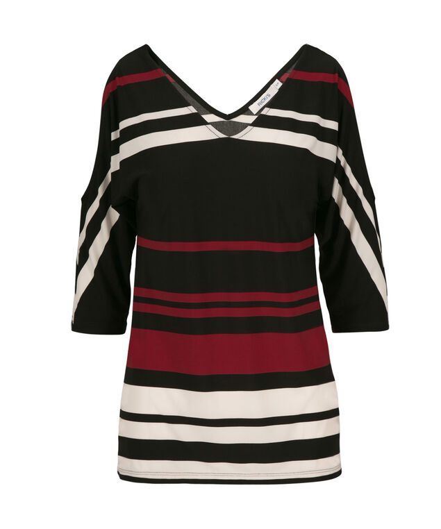 Dolman Sleeve Cold Shoulder Top, Crimson Stripe, hi-res