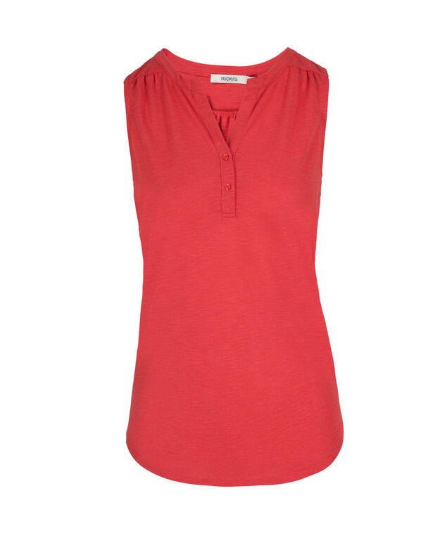 Sleeveless Henley Top, Burnt Coral, hi-res