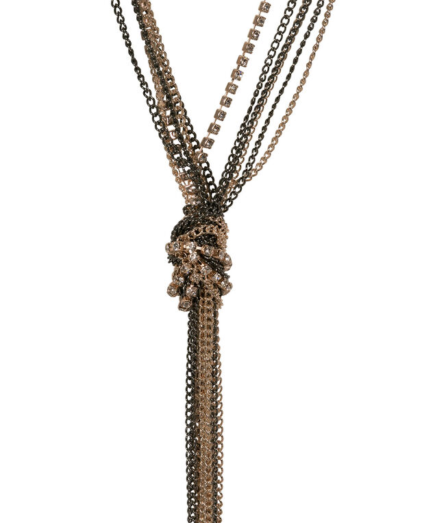 Mixed Metal Knotted Chain Necklace, Rose Gold/Clear/Hematite, hi-res