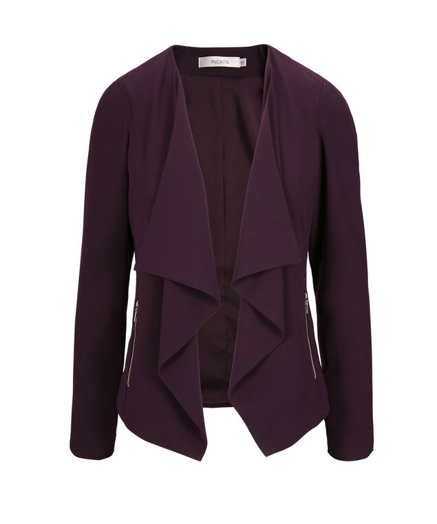 Drape Front Zipper Blazer, Blackberry, hi-res