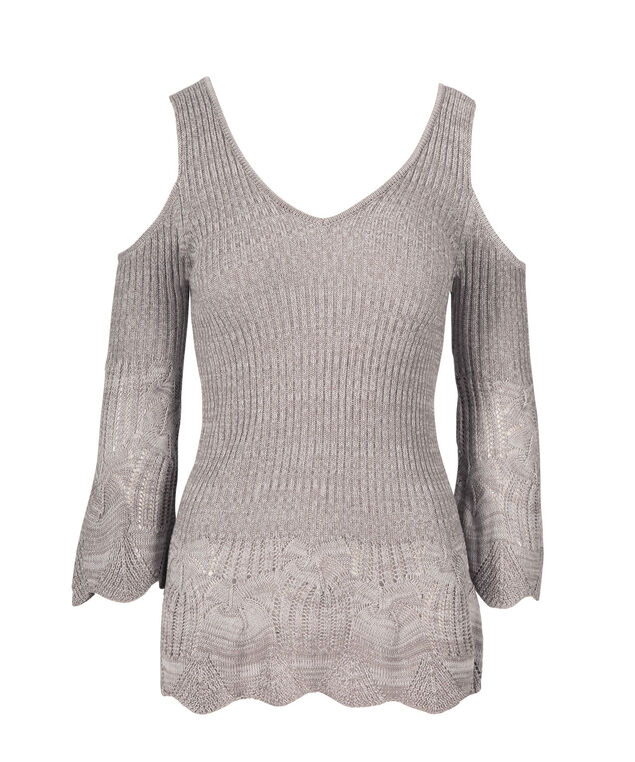 Cold-shoulder Ribbed Pointelle Pullover, Grey Mix, hi-res