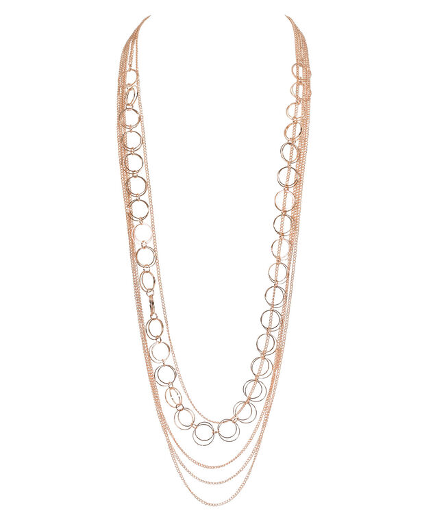Multi-Strand O-Ring & Chain Necklace, Rose Gold, hi-res