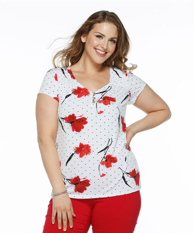 Short Sleeve V-Neck Shirt, Milkshake/Red Print, hi-res
