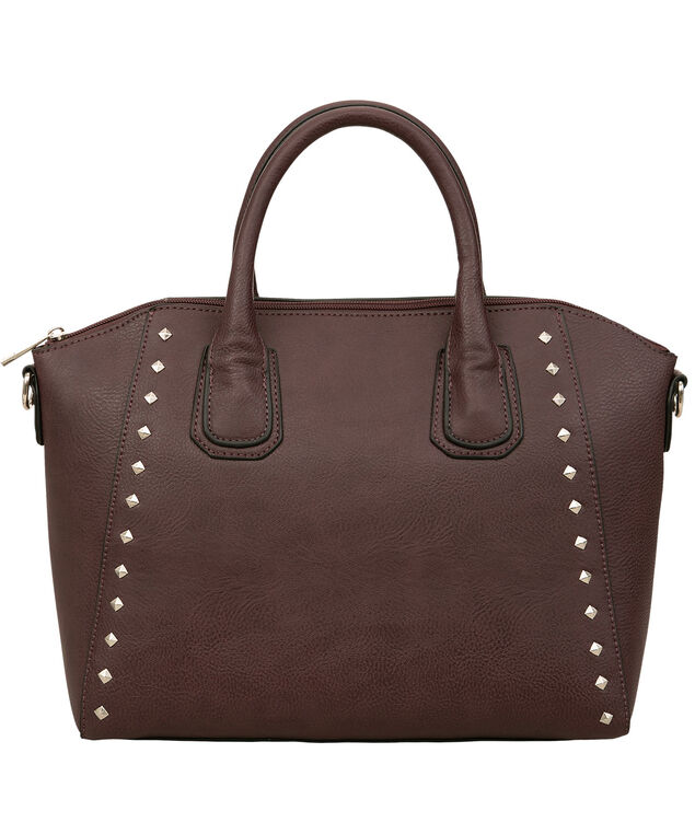 Studded Trapezoid Satchel, Port/Nickel, hi-res