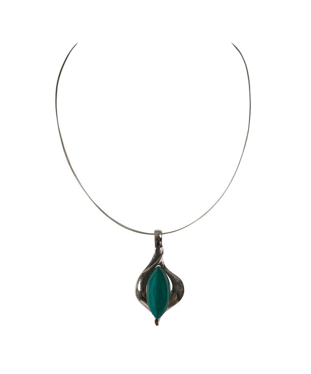 Swirl Oval Cateye Wire Necklace, Peacock Green/Rhodium, hi-res