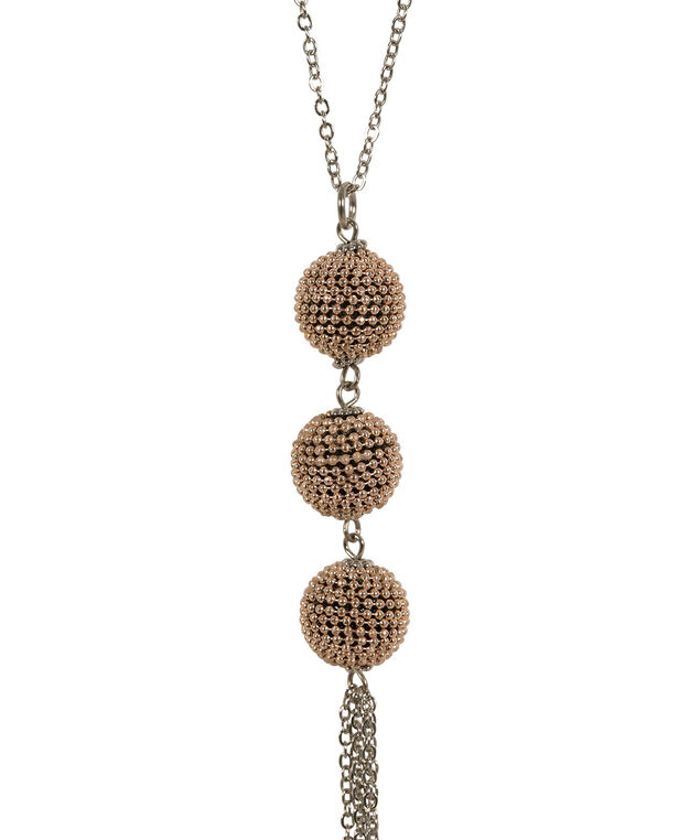 Mixed Metal Ball & Chain Tassel Necklace, Rhodium/Rose Gold, hi-res