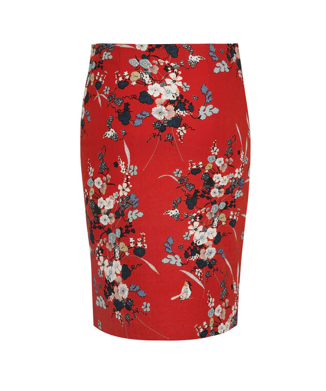 Floral Pencil Skirt, Orange Red/Blue Print, hi-res