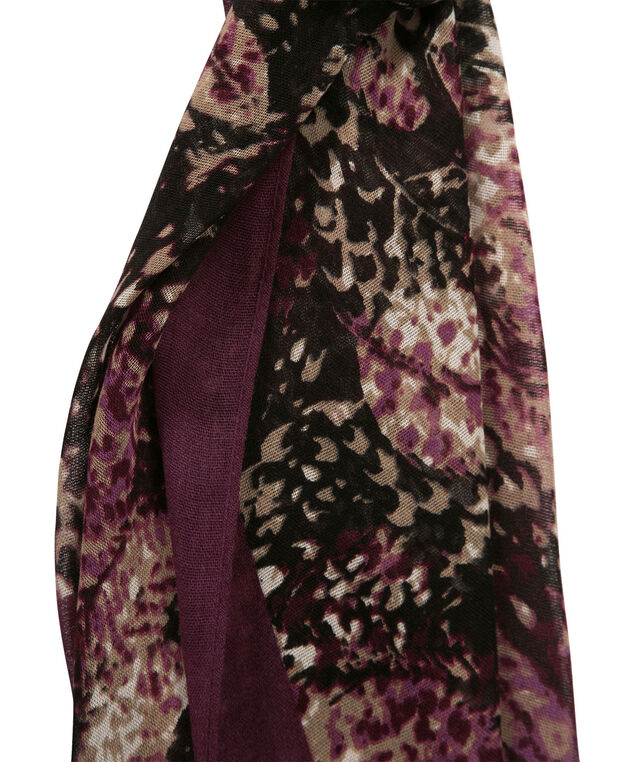 Feathered Border Print Scarf, Plum/Camel/Black, hi-res
