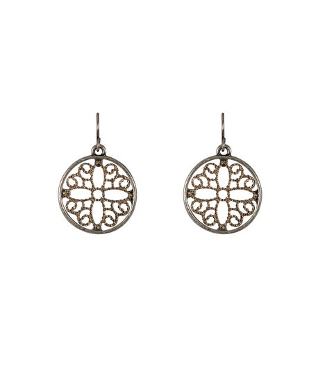 Mixed Metal Filigree Circle Earrings, Burnished Silver/Gold, hi-res