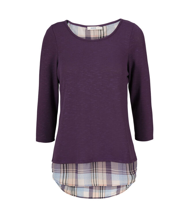 Zipper Back Hacci Fooler Top, Purple Pattern, hi-res